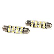 41mm 1210 SMD 12-LED White Light Festoon Bulbs for Car (DC 12V, 2-Pack)