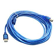 kobberleder USB2.0 am til bm printerkabel med 248 magnetisk loop (5 m)