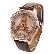 Dames Modieus horloge imitatie Diamond Kwarts PU Band Eiffeltoren Vrijetijdsschoenen Zwart Wit Rood Bruin roze