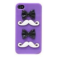Stereo Bowknot Mustache Pattern Hard Case for iPhone 4/4S (Purple)