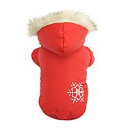 Hunde Mäntel / Kapuzenshirts Rot / Braun Hundekleidung Winter Schneeflocke warm halten / Reversibel / Weihnachten