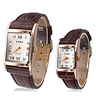 EYKI Paar Classic Square Dial Leder Band Quartz Analog-Armbanduhr (verschiedene Farben)