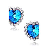 Oorknopjes Saffier Liefde Luxe Sieraden Edelsteen imitatie Diamond Legering Hartvorm Stervorm Blauw Sieraden Voor Dagelijks