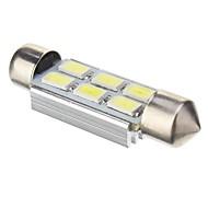 Festoon 2W 6x5730SMD 140LM 6000K Cool White Light Bulb LED para carro (DC 12V, 41mm, 1pcs)