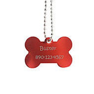 Personalized Gift Bone Shape Red Pet Id Name Tag with Chain  for Dogs