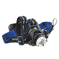 3-läge Cree XM-L T6 LED Zoom Headlamp (1000LM, 2x18650, Svart)