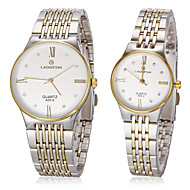 Couple's Simple Round Dial Steel Band Quartz Analog Couple's Watch (Assorted Colors)