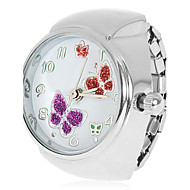 Women's Butterflies Pattern Silver Alloy Quartz Analog Ring Watch
