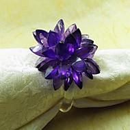 Cristal Flor Guardanapo Ring, Acrílico, 3.5cm, conjunto de 12