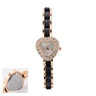 Εξατομικευμένη γυναικών δώρων Λευκή Αγάπη Σχήμα Dial Μαύρο Βραχιόλι Band Αναλογικό ρολόι Χαραγμένο