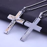 Presente personalizado Jóias de aço inoxidável Bíblia Cruz em forma de colar de pingente gravado com 60 centímetros Cadeia