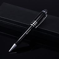 torção presente personalizado gravado caneta esferográfica de aço inoxidável com jóia em caso de couro (preto e prata)