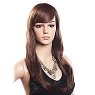 High Quality 20% Human Hair & 80% Heat-resistant Fiber Hair Capless Long Wavy Wig(Dark Brown)