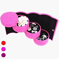 Multi-Color Suede 3-Layer Cylinder Shaped Jewlery Storage Box&Display Stand(Assorted Color)