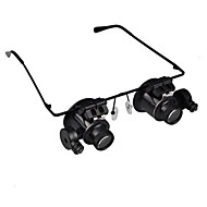 20X Magnifier Magnifying Eye Glasses Jeweler Watch Repair LED Light Glasses Loupe Lens