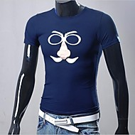Men's Round Neck Slim Short Sleeve Printing T-shirt (Print Color Random)