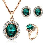 Új stílus 18K Rose Aranyozott Ausztria Crystal Sapphire Kő Medál Nyaklánc fülbevaló gyűrű szett