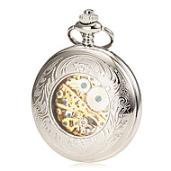 Hombre Reloj de Bolsillo El reloj mecánico Cuerda Manual Huecograbado Aleación Banda De Lujo Plata Dorado