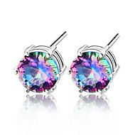 Rainbow Colored Mystic Topaz Gemstone Daily Drop Silver Classis Earrings 1pair