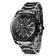 Men's Racing Style Black Alloy Quartz Wrist Watch