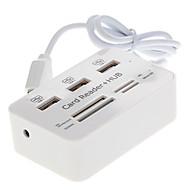 3 portas + Leitor de Cartão de alta velocidade USB 2.0 Hub