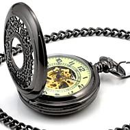 Hombres Perspectiva Ronda Hollow Todos Luminoso Negro Dial mecánico esquelético de reloj de bolsillo