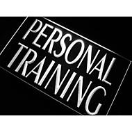 개인 훈련 체육관 트레이너 네온 빛 기호