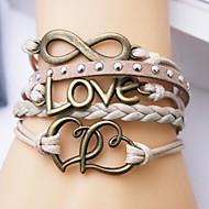 Nahkaranneke monikerroksinen metalliseos rakkaus ja sydän ääretön käsityönä rannerengas