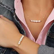 ジュエリーセット ファッション 欧風 真珠 人造真珠 合金 ゴールド ネックレス ブレスレット のために パーティー 誕生日 日常 カジュアル ウェディングギフト