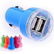 DC 12-24V 2.1A/ 1A Dual-USB Mini Auto Car Charger Adapter for Samsung iPhone and Others(Assorted Colors)