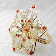 flor com seis pétalas anel de guardanapo, beades acrílico, 4,5 centímetros, conjunto de 12