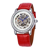 SHENHUA® Women's Hollow Dial Diamond Silver Case Leather Band Auto-Mechanical Wrist Watch (Assorted Colors) Cool Watches Unique Watches