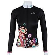 paladinsport女性の長袖サイクリングジャージ黒夜の花の春と夏のスタイルポリエステル100%