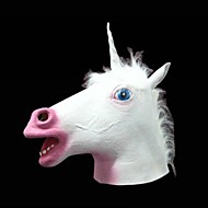 White Unicorn Latex Mask for Halloween Costume Party