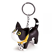 Lovely Silicone Small Black & White Cat KeyChain