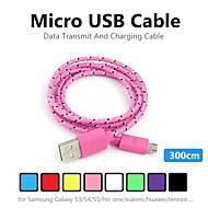 3m v8 micro usb vasthoudendheid nylon round data kabel voor samsung en andere telefoon (verschillende kleuren)