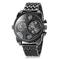 Oulm Herren Militäruhr Armbanduhr Quartz Japanischer Quartz Duale Zeitzonen Edelstahl Band Luxuriös Schwarz Braun BronzeSchwarz Braun