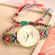 kvinnors gyllene fall kedjan tyg band kvarts analoga armband klocka (blandade färger)