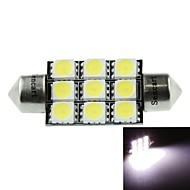 41 milímetros (sv8.5-8) 4.5W 9x5060smd 280-360lm 6500-7500k luz branca para lâmpada de cúpula carro (dc12-16v)
