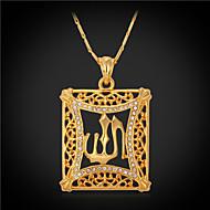 Modische Halsketten Imitation Diamant Anhängerketten / Weinlese-Halsketten Schmuck Quadatische Form Krystall / Strass / vergoldet