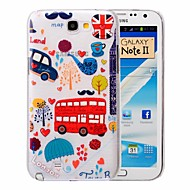 Red Decker Bus Pattern PC Brushed Case for Samsung Galaxy Note 2 N7100