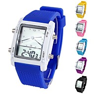 Unisex Colorful Square-Shaped Dial Multifunction Digital Silicone Wrist Watch (1Pc)(Assorted Colors)