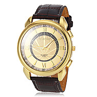 Men's Gold Dial Leather Band Quartz Dress Watch