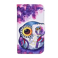 Purple Owl Pattern PU Leather Cover with Stand and Card Slot for iPhone 4/4S