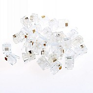 RJ11 puhelin kristalli pää quad puhelin kristalli pää 2 4 ydin rivi (20kpl)