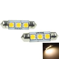 39mm (SV8.5-8) 2w 3x5054smd 120-160lm 3000-3500K, warmweißes Licht-LED für Auto Kennzeichenleuchte 2ST (DC12-16V)