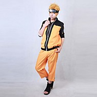 에서 영감을 받다 나루토 Naruto Uzumaki 에니메이션 코스프레 코스츔 코스프레 정장 패치 워크 오렌지 긴 소매 코트 / 바지