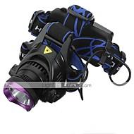 헤드램프 LED 3 모드 2200 루멘 방수 / 충전식 18650 캠핑/등산/동굴탐험 / 일상용 / 사이클링 / 사냥 / 등산 / 여행 / 드라이빙 / 일 / 멀티기능-기타,블랙 / 퍼플 스테인레스 스틸(스테인레스 강) / 플라스틱 / 고무