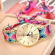 vigilanza della catena caso d'oro braccialetto di quarzo analogico fascia del tessuto delle donne (colori assortiti)