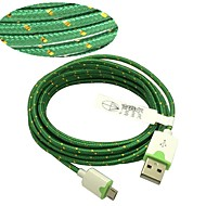 3M 10ft Fabric Braided Woven Micro USB Charging Cable Data Sync Cord for Samsung HTC Sony Phones (Green)